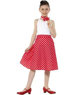 Fustă roșie din anii 1950 cu buline pentru fete