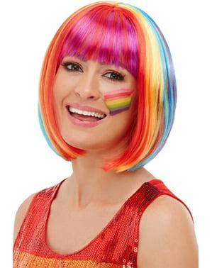 Regenbogen Perücke glatt für Damen