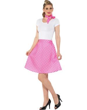 Fato de Anos 50 cor-de-rosa com pintas para mulher