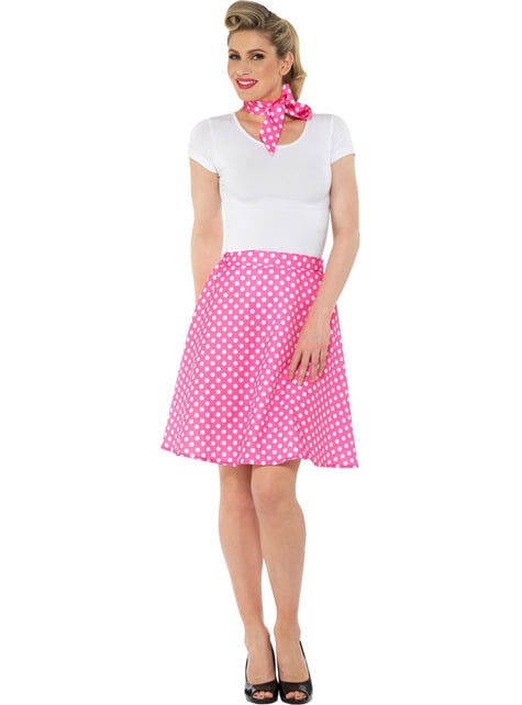 50s Polka Dot Costume for Women in Pink - woman