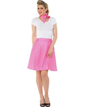 Kostým s puntíky ve stylu 50. Let pro ženy růžový