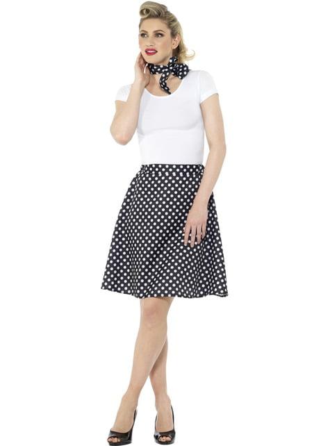 50s Polka Dot Costume for Women in Black