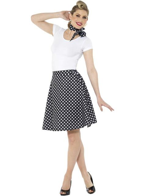 50s Polka Dot Costume for Women in Black - woman