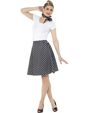 Kostým s puntíky ve stylu 50. Let pro ženy černý