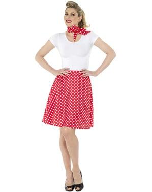 Czerwony kostium Kropki lata 50. dla kobiet