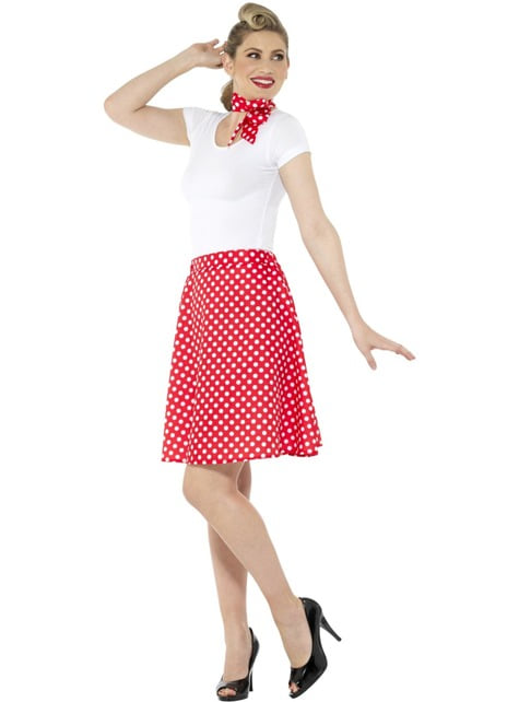 50s Polka Dot Costume for Women in Red - woman