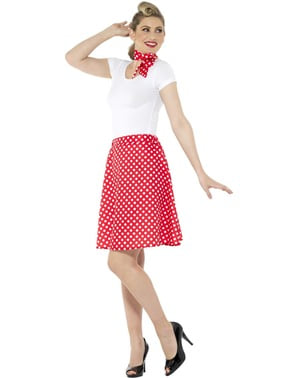50s горошок Костюм для жінок в червоному