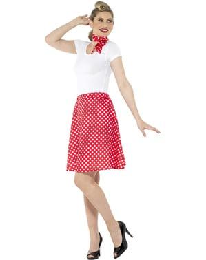 Kostým s puntíky ve stylu 50. Let pro ženy červený
