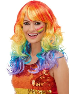 Peruca arco-íris ondulada para mulher