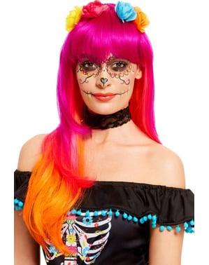 Perruque catrina orange et rose femme