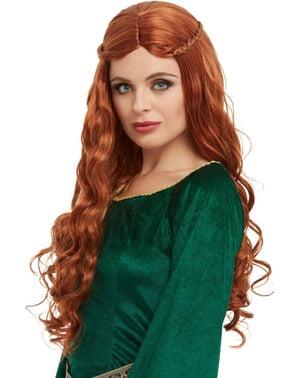 Prinzessin aus dem Mittelalter Perücke rot für Damen