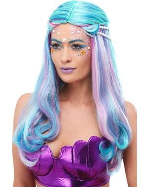 Meerjungfrau Perücke bunt mit Perlen für Damen