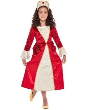 Medeltida Prinsessa Maskeraddräkt barn i rött