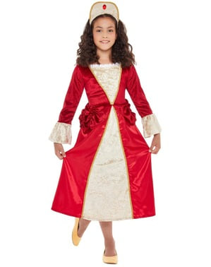 Medieval Princess Costume for Girls in Red