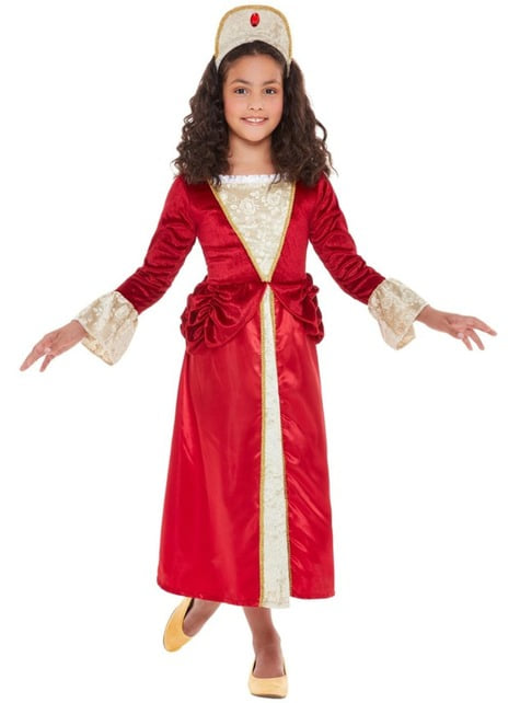 Middeleeuwse prinses kostuum voor meisjes in het rood - meisjes