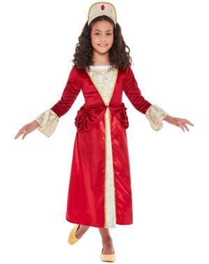 Prinzessin aus dem Mittelalter Kostüm rot für Mädchen