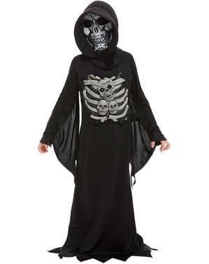 Fato de esqueleto tenebroso para menino