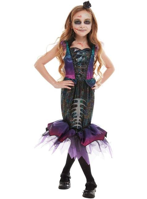 Fato de sereia zombie para menina - menina y rapariga