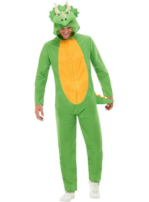Disfraz de dinosaurio verde para adulto
