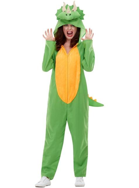 Disfraz de dinosaurio verde para adulto - adulto