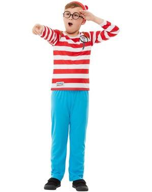 Waar is Wally deluxe kostuum voor jongens