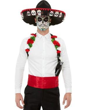 Mans Messicano fusciacca Rossa Cappello Tie Red Velvet Costume articolo giorno dei morti