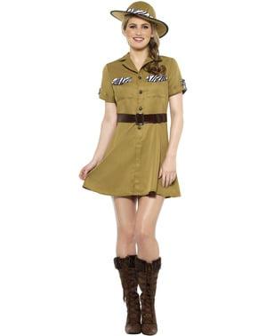 Safari kostuum voor vrouw in het bruin
