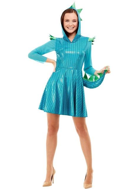 Disfraz de Dragón azul para mujer