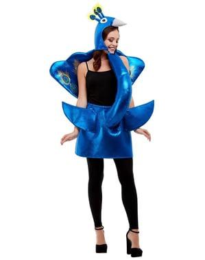 Blå Peacock Kostyme til Voksne