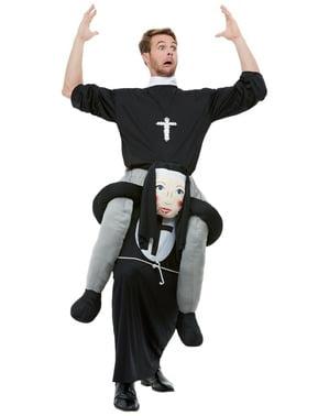 Piggyback Nun Costume for Adults
