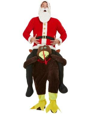Jule Kalkun ride on kostume til voksne