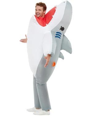 Fato insuflável de tubarão para adulto