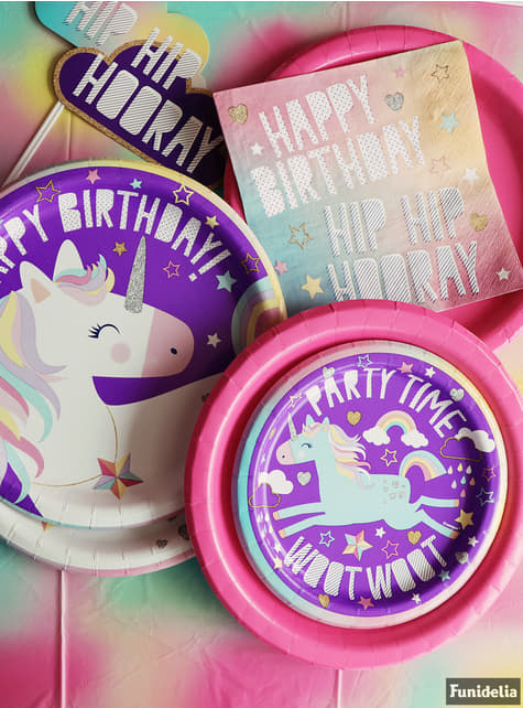 8 platos de unicornio (18cm) - Happy Unicorn - para tus fiestas