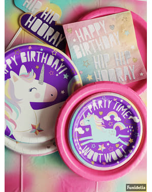 8 platos de unicornio (18cm) - Happy Unicorn