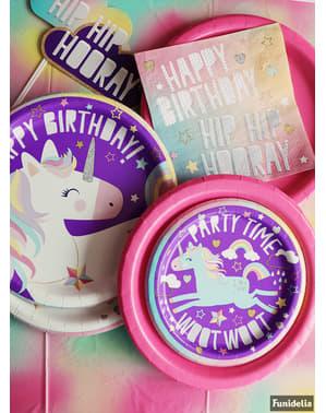 8 desserttallrikar lycklig enhörning (18 cm) - Unicorn