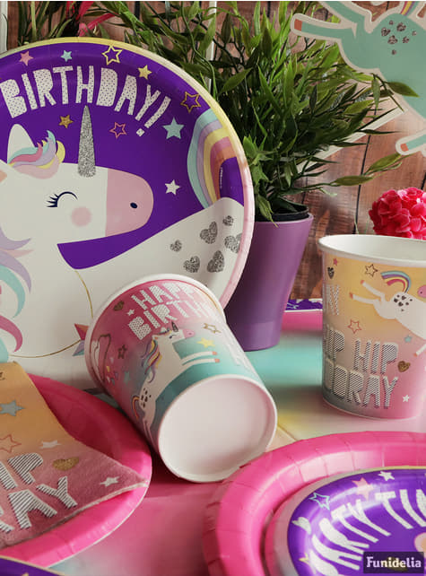 8 platos de unicornio (23cm)- Happy Unicorn - para tus fiestas