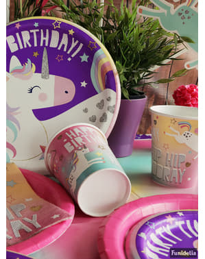 8 pratos Happy Birthday Unicórnio (23cm) - Happy Unicorn