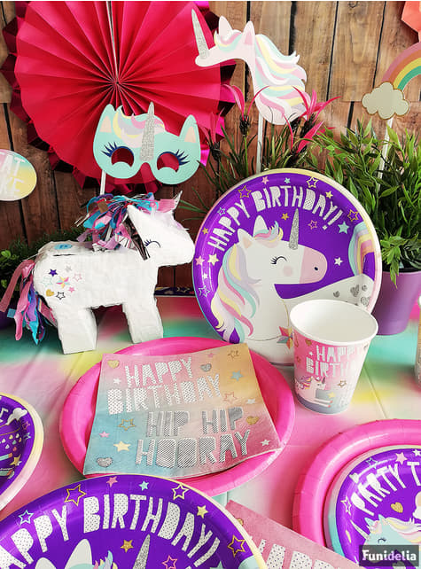 Zestaw 8 urodzinowych talerzy z wesołym jednorożcem - Unicorn