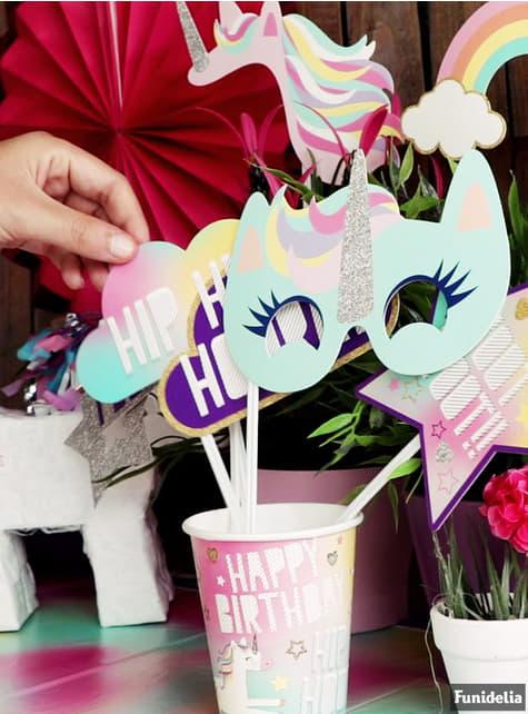 Set of 8 big Happy Unicorn cups - Unicorn