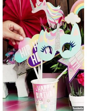 Sada 8 veľkých narodeninových pohárov - Happy Unicorn