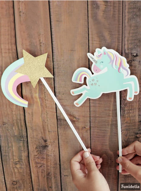 10 complementos variados para photocall de unicornio - Happy Unicorn - decoración de fiesta
