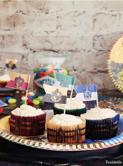 Juego pastelería envoltorios cupcake y banderitas de Harry Potter - Hogwarts Houses - para niños y adultos