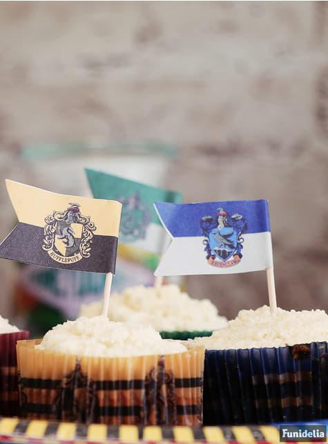 Juego pastelería envoltorios cupcake y banderitas de Harry Potter - Hogwarts Houses - para decorar todo durante tu fiesta