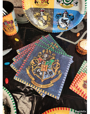 Set 16 servetter elevhem Hogwarts - Harry Potter
