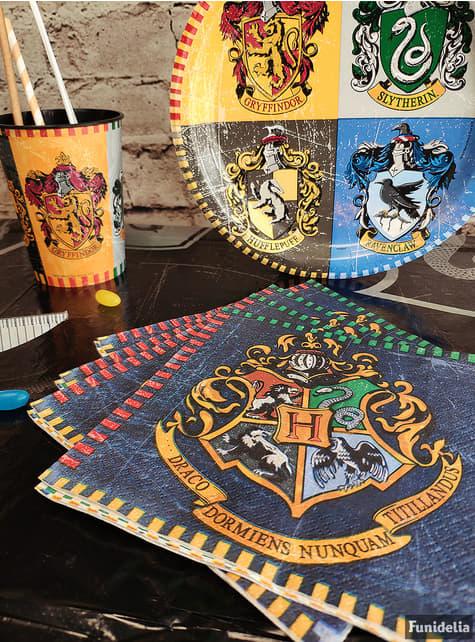 Conjunto de 16 guardanapos Casas de Hogwarts - Harry Potter