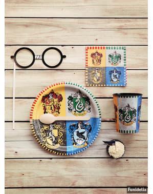 Zestaw 8 dużych talerzy z herbami Domów Hogwartu - Harry Potter