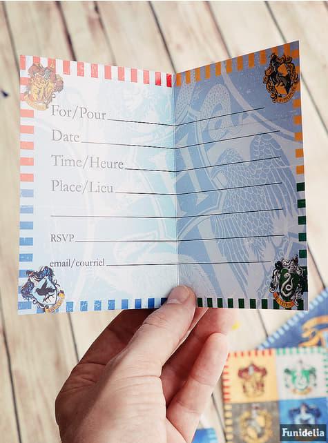 8 invitaciones Casas de Hogwarts - Harry Potter - comprar