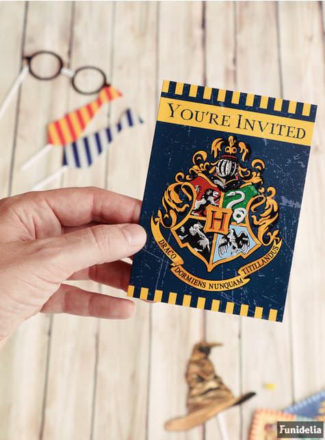 Conjunto de 8 convites Casas de Hogwarts - Harry Potter