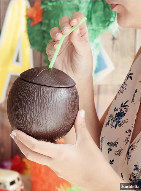 Kit med kokosnødkop og sugerør