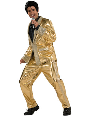 Mens Elvis Now the king of rock gold costume